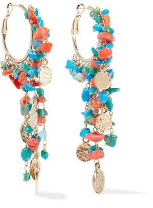 Rosantica Vento Gold-tone Beaded Hoop Earrings - Blue