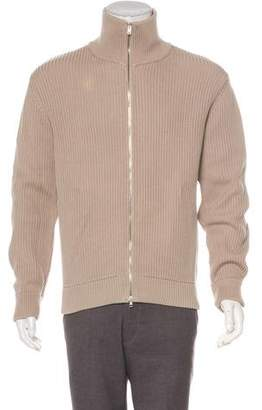 Maison Margiela 2007 Rib Knit Chunky Zip-Up Sweater