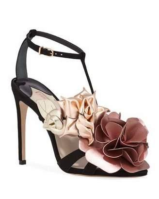 Sophia Webster Jumbo Lilico Floral Velvet Sandals