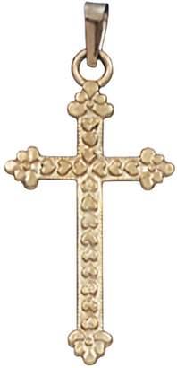 14K Yellow Gold Heart Cross Pendant