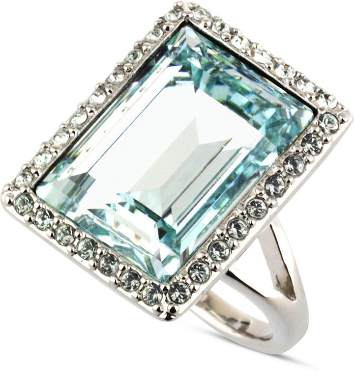 Givenchy Ring, Silver Tone Light Azure Crystal Cocktail Ring