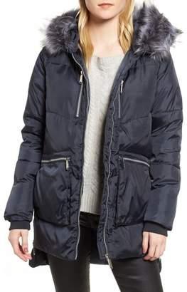 Sam Edelman Hooded Puffer Jacket with Faux Fur Trim