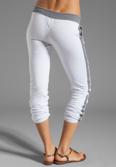 Monrow Fleece Track Sweats in White/Heather