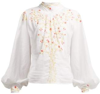 Thierry Colson Teresa Floral Embroidered Cotton Blouse - Womens - White Multi