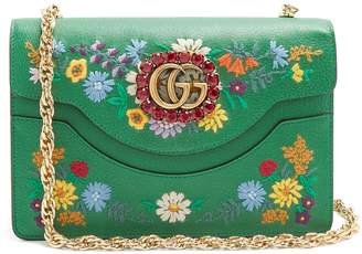 Gucci Floral-embroidered leather shoulder bag