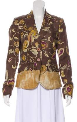 Etro Linen Notch-Lapel Blazer