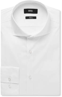 HUGO BOSS White Jason Slim-Fit Cutaway-Collar Stretch Cotton-Blend Shirt