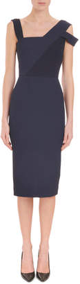 Roland Mouret Asymmetric-Neck Sleeveless Fitted Midi Cocktail Dress