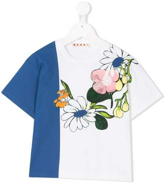 Marni contrast panel floral print T-shirt