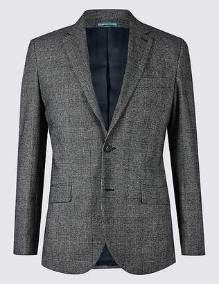 Marks and Spencer Cotton Rich Checked Tailored Fit Jacket