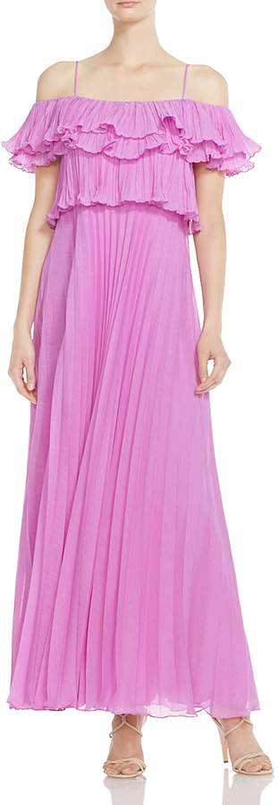 Pleated Cold-Shoulder Gown