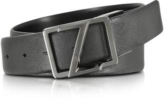 Ermenegildo Zegna Black Leather Reversible & Adjustable Belt w/Gunmetal Signature Buckle