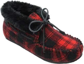 Minnetonka Women's Chrissy Red Plaid Bootie Slippers