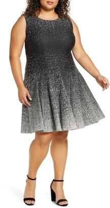 Eliza J Ombre Dot Fit & Flare Knit Dress