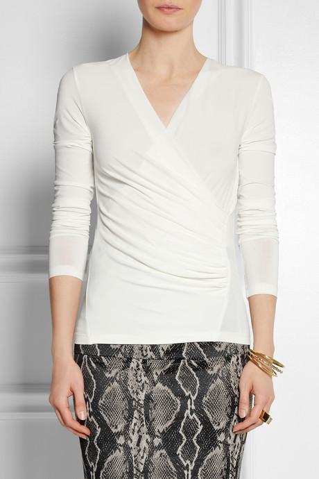 Donna Karan Wrap-effect stretch-jersey top