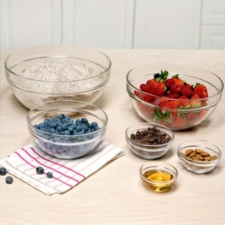 Tasty 6pc Stackable Glass Prep Bowl and Mixing Bowl Set