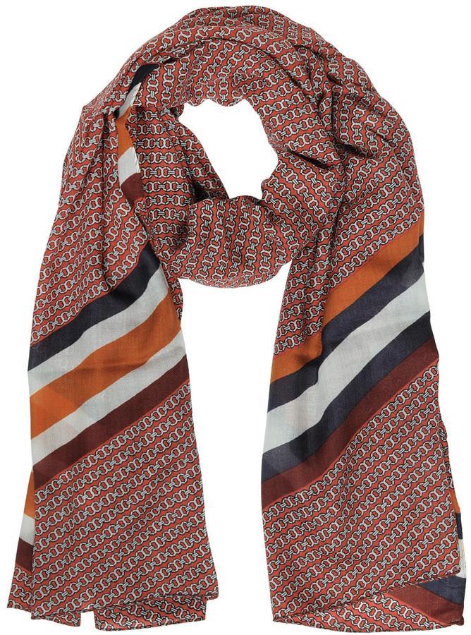 Tory BurchTory Burch Gemini Link Striped Oblong Wool Scarf