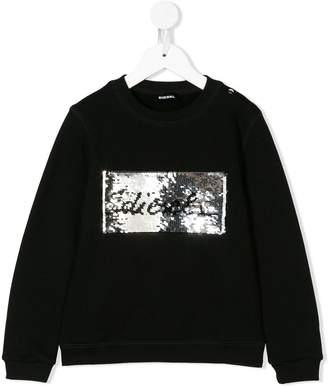 Diesel sequinned logo patch sweatshirt