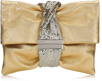 Jimmy Choo CHANDRA/M Gold Metallic Leather Clutch Bag with Chainmail Bracelet