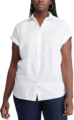 Chaps Plus Size Button-Front Cuffed Top