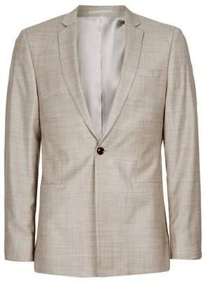 Topman Mens Stone Crosshatch Wool Skinny Fit Suit Jacket