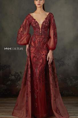 Couture Mnm Long-Sleeve Beaded Gown
