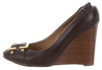Chloé  Chloé Buckle-Accented Leather Wedges