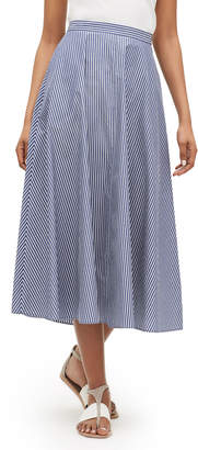 Lafayette 148 New York Ambria Striped Midi Cotton Skirt