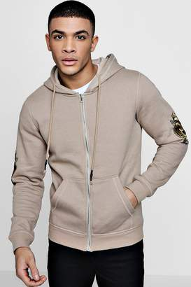 boohoo Gold Embroidered Zip Through Hoodie