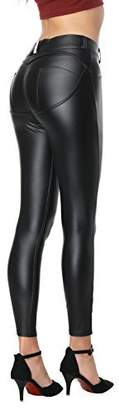 RIER Women's Butt Lift Super Slim Wet Look Thin Faux Leather Leggings (X-Large)