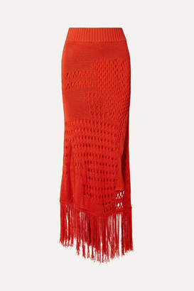 Altuzarra Benedetta Fringed Open-knit Cotton-blend Maxi Skirt - Orange