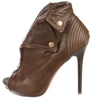 Alexander McQueen Leather Peep-Toe Booties