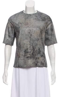 MM6 MAISON MARGIELA Leather Short Sleeve Top