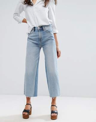 MiH Jeans Crop Wide Leg Jean with Contrast Vintage Wash and Raw Hem