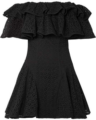House of Holland Off-the-shoulder Ruffled Broderie Anglaise Mini Dress - Black
