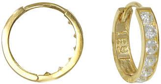 JCPenney FINE JEWELRY Girls 14K Yellow Gold Cubic Zirconia Hoop Earrings