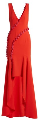 Galvan - Cuzco Tassel Embellished V Neck Gown - Womens - Red