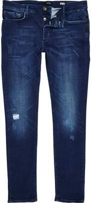 River Island Mens Dark Blue wash Sid skinny jeans