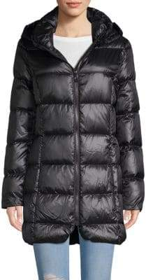 Donna Karan Quilted Hooded Down Jacket