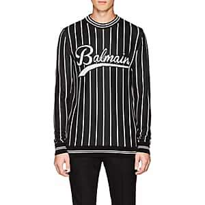 Balmain Men's Logo Striped Crewneck Sweater-Black