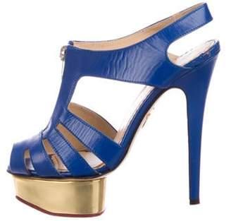 Charlotte Olympia Leather Peep-Toe Platform Sandals Blue Leather Peep-Toe Platform Sandals