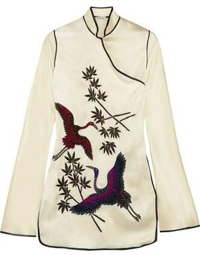 ATTICO Elena Embellished Embroidered Satin Mini Dress