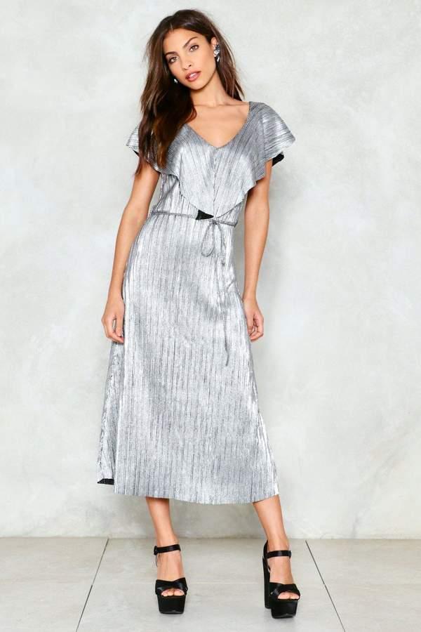 nastygal Quicksilver Metallic Midi Dress
