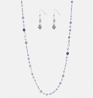 Avenue Blue Rope Necklace Earring Set