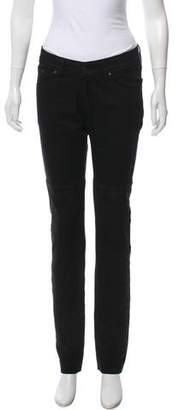 Surface to Air Suede Mid-Rise Straight-Leg Jeans