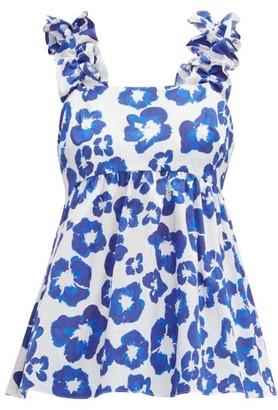 Borgo de Nor Tilly Floral Print Ruffle Trim Cotton Top - Womens - Blue White