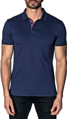 Jared Lang Semi-Fitted Abstract-Revers Pique Polo Shirt