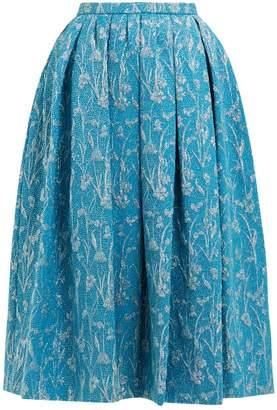 Rochas Floral Brocade Pleated Skirt - Womens - Blue Multi