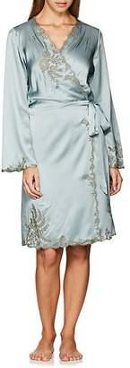 Carine Gilson Women's Lace-Trimmed Silk Short Robe - Lt. Green