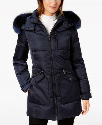 1 Madison Expedition Hooded Fur-Trim Coat